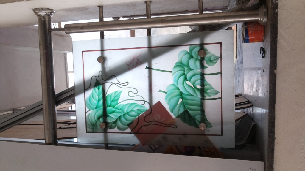Glass paintings handrails window glass paintings for Window glass design in kerala